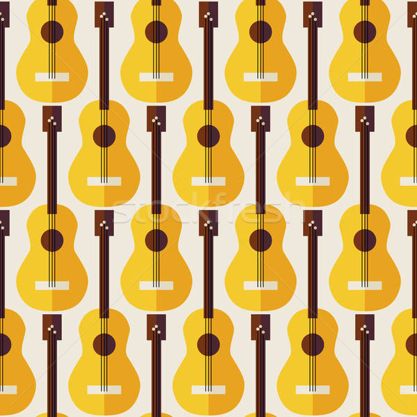 Flat Seamless Background Pattern Music Instrument Guitar Stock photo © Anna_leni