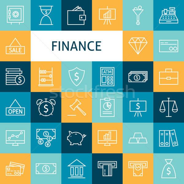 Vector Flat Line Art Modern Finance Money and Banking Business I Stock photo © Anna_leni