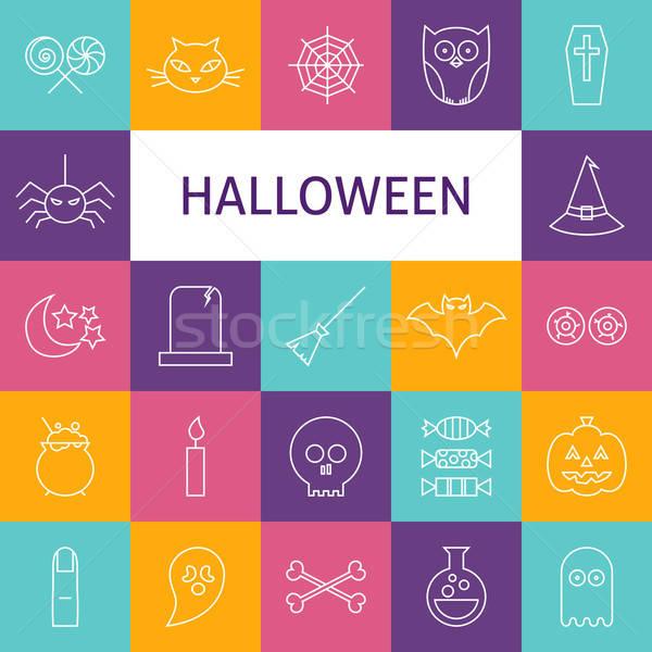 Vector Line Art Modern Halloween Holiday Icons Set Stock photo © Anna_leni
