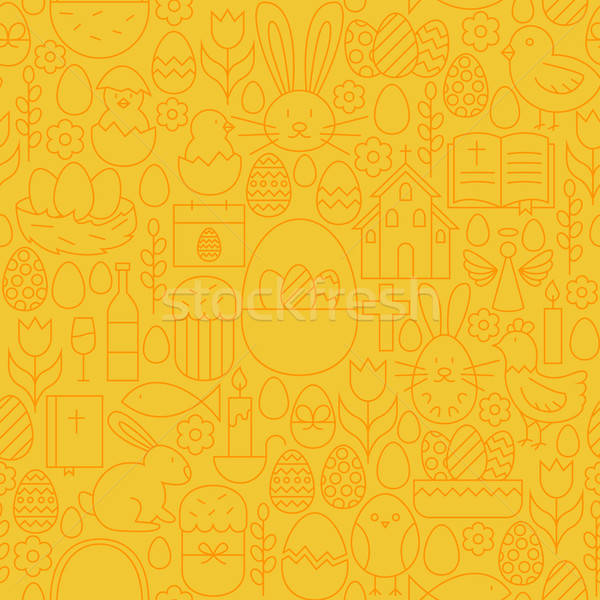 Thin Happy Easter Line Seamless Yellow Pattern Stock photo © Anna_leni