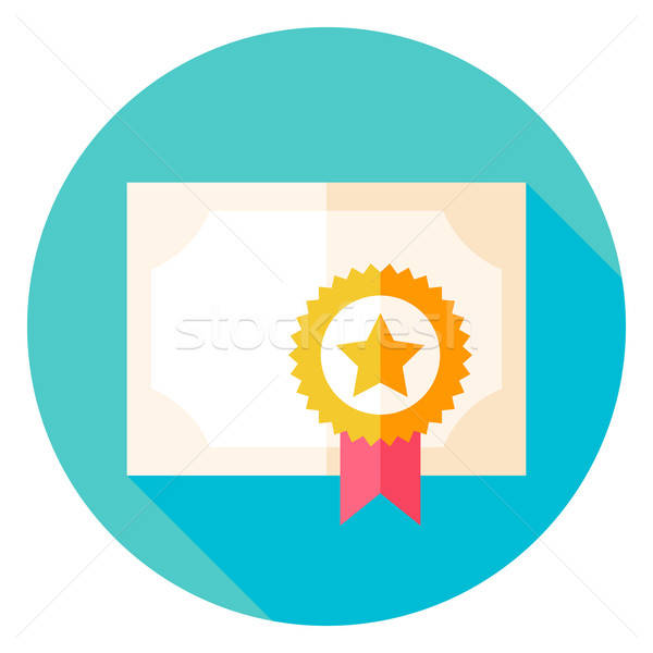 Papel diploma adjudicación círculo icono diseno Foto stock © Anna_leni