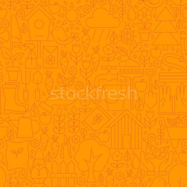 Vékony vonal narancs tavasz kert végtelen minta Stock fotó © Anna_leni