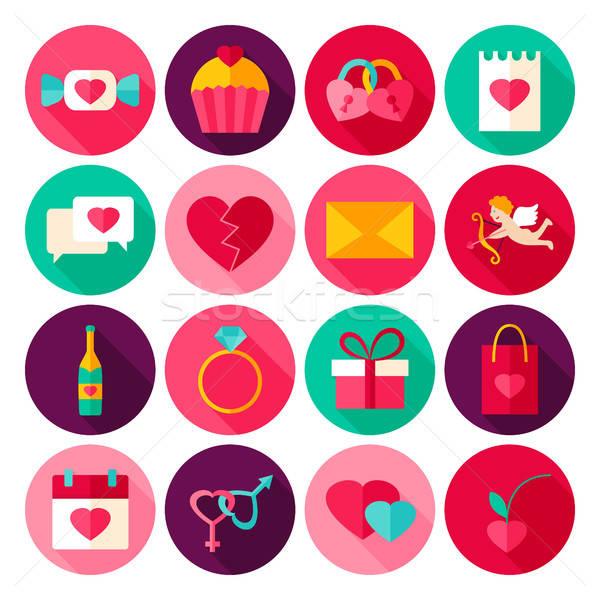 счастливым иконки любви праздник коллекция Сток-фото © Anna_leni