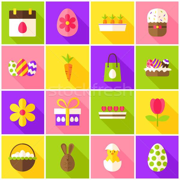 Пасху весны красочный иконки счастливым праздник Сток-фото © Anna_leni