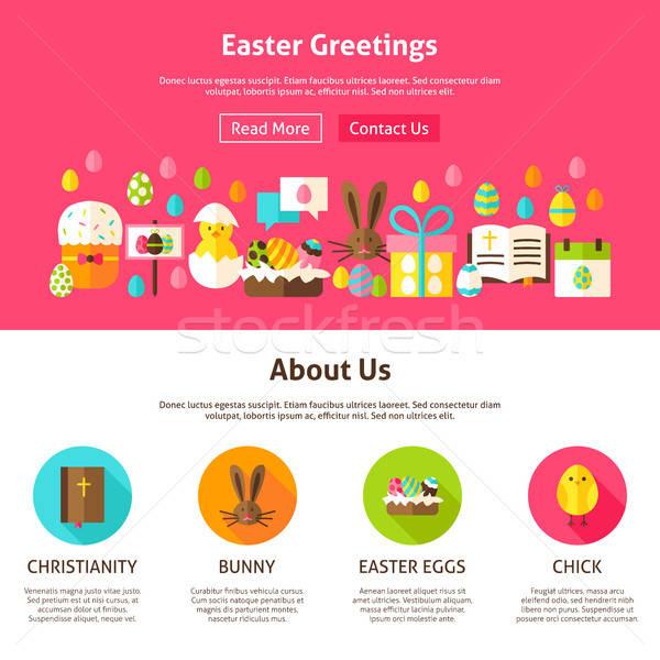 Pâques accueil conception de site web style site bannière Photo stock © Anna_leni