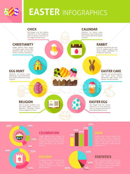 Kellemes húsvétot infografika terv tavasz ünnep szöveg Stock fotó © Anna_leni