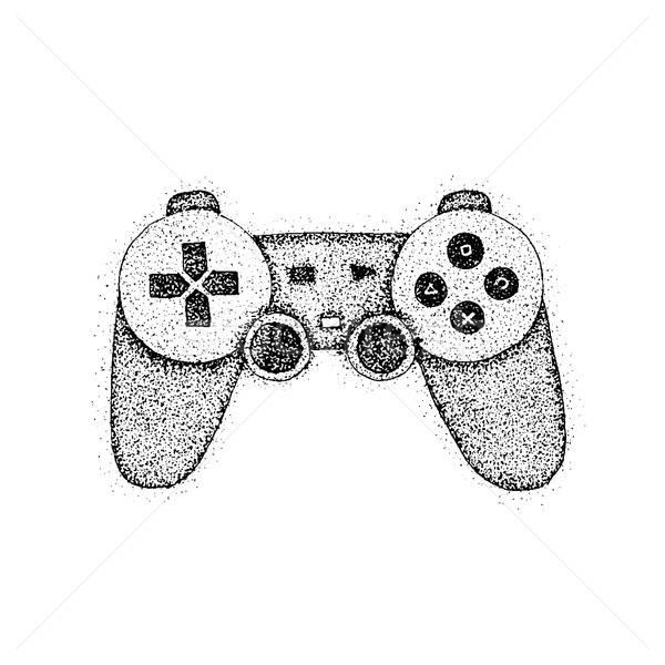 Számítógépes játékok konzol játék botkormány kézzel rajzolt rajz Stock fotó © Anna_leni
