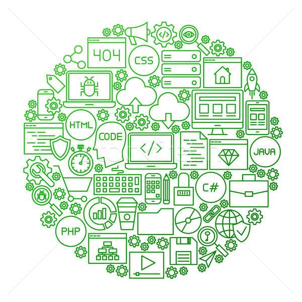Codificación línea icono círculo diseno programación Foto stock © Anna_leni