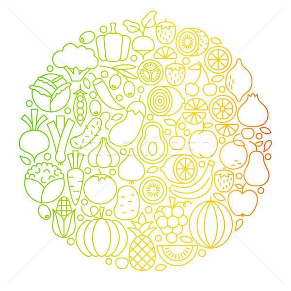 Gyümölcs zöldség vonal ikonok kör egészséges Stock fotó © Anna_leni