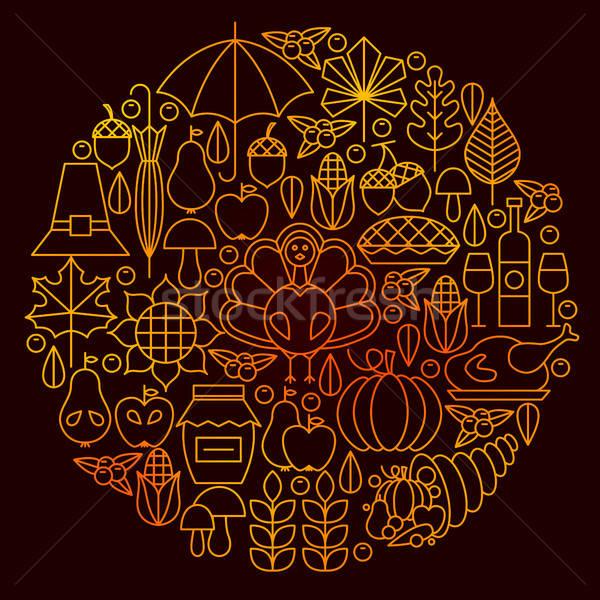 Thanksgiving Day Line Icon Circle Concept Stock photo © Anna_leni