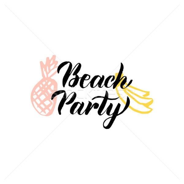 Plage fête calligraphie fruits d'été main Photo stock © Anna_leni