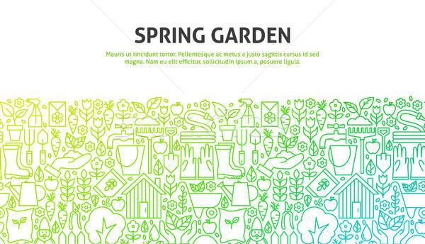 Frühling Garten line Web-Design Banner Vorlage Stock foto © Anna_leni