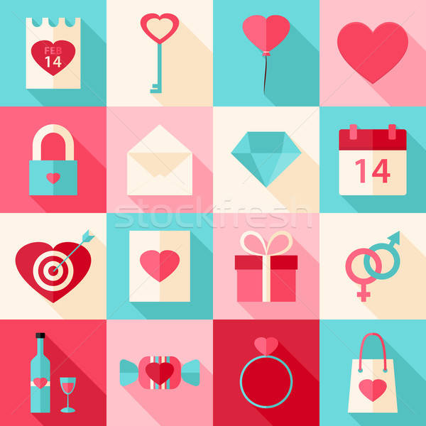 Valentine day flat style icons with long shadow Stock photo © Anna_leni