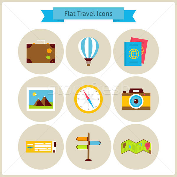 Flat Travel and Vacation Icons Set Stock photo © Anna_leni