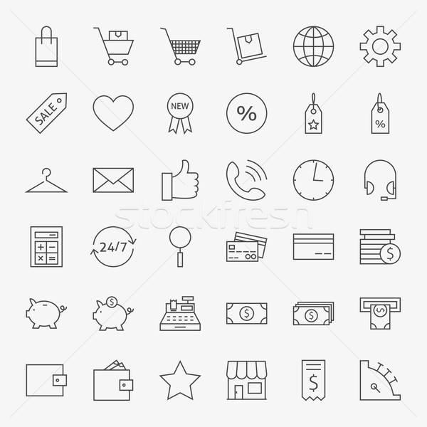 Lijn online winkelen commerce iconen groot ingesteld Stockfoto © Anna_leni