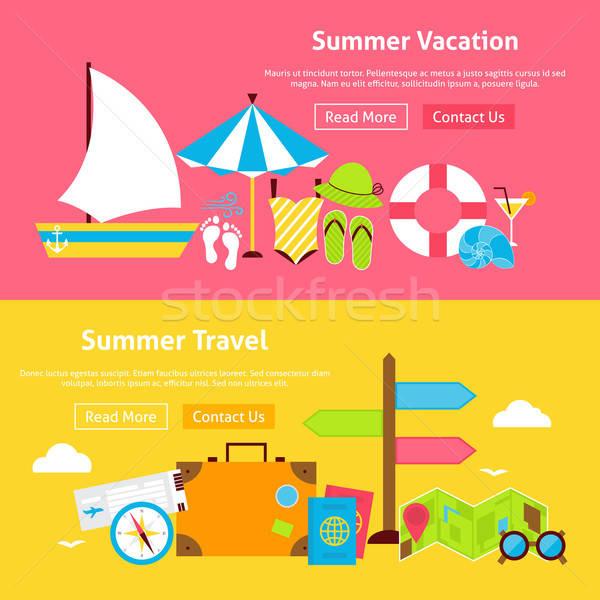 Summer Travel Vacation Flat Website Banners Set Stock photo © Anna_leni