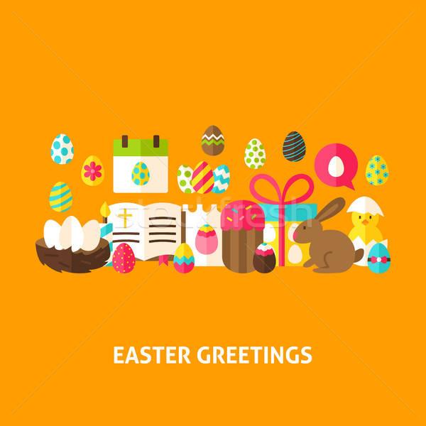 Pasqua saluto cartolina design primavera vacanze Foto d'archivio © Anna_leni