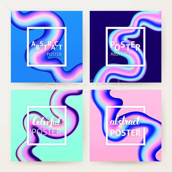 Líquido fluido cartaz conjunto colorido criador Foto stock © Anna_leni