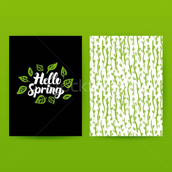 Hallo voorjaar groene poster modieus patroon Stockfoto © Anna_leni