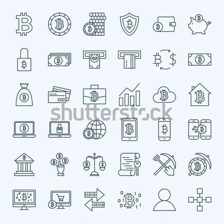 Bitcoin Glyphs Website Icons Stock photo © Anna_leni