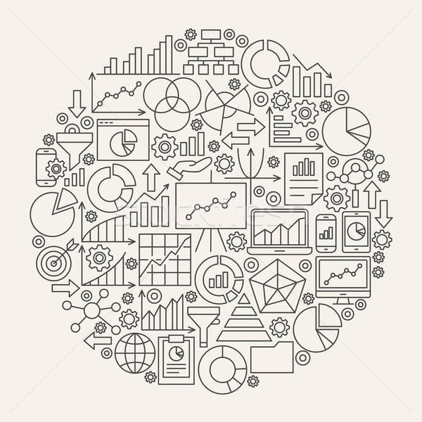 Business Diagram Line Icons Circle Stock photo © Anna_leni