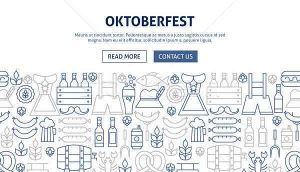 Oktoberfest banner ontwerp lijn web partij Stockfoto © Anna_leni