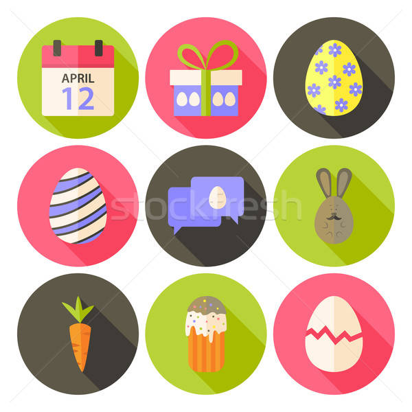 Easter flat styled circle icon set 5 with long shadow Stock photo © Anna_leni