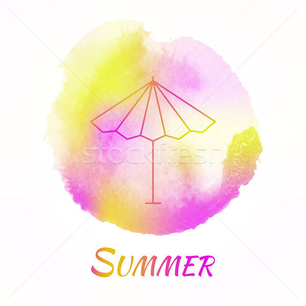Stockfoto: Zomer · zon · paraplu · vector · aquarel · parasol