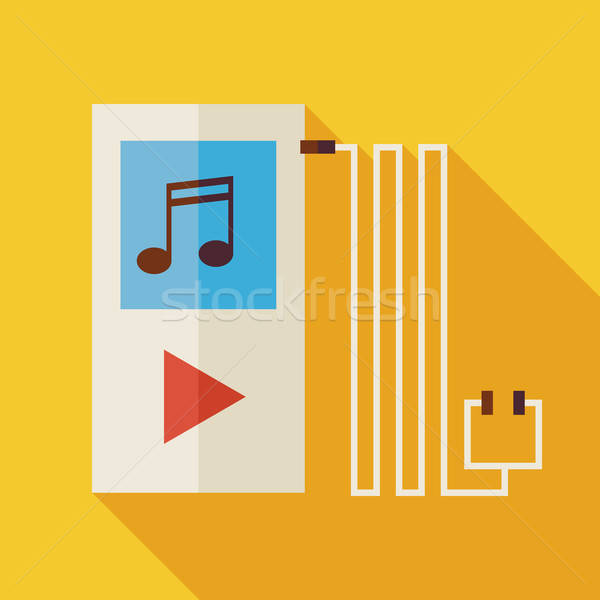 Flat Music Player Illustration with long Shadow Stock photo © Anna_leni