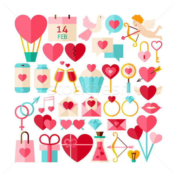 Big Flat Style Vector Collection of Valentine Day Objects Stock photo © Anna_leni