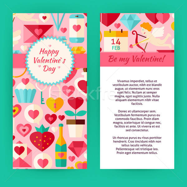 Vector Flyer Template of Happy Valentine Day Objects and Element Stock photo © Anna_leni