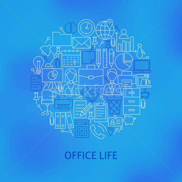 Thin Line Business Office Life Icons Set Circle Concept Stock photo © Anna_leni