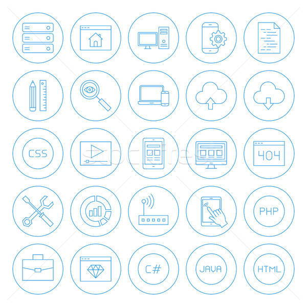 Stock photo: Line Circle Coding Icons