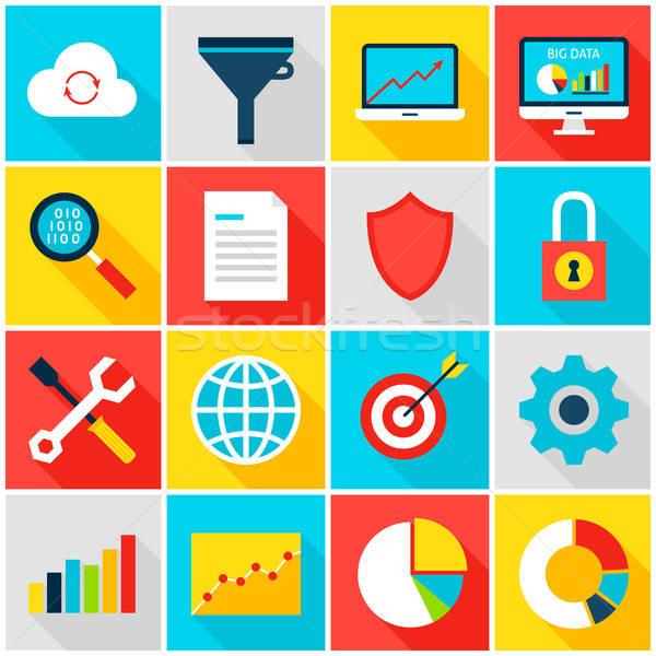 Grande datos analítica colorido iconos negocios Foto stock © Anna_leni