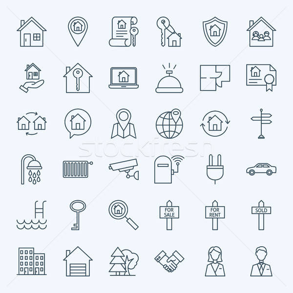 Line Real Estate Icons Stock photo © Anna_leni