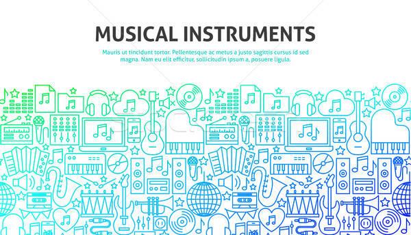Strumenti musicali line progettazione di siti web banner modello musica Foto d'archivio © Anna_leni