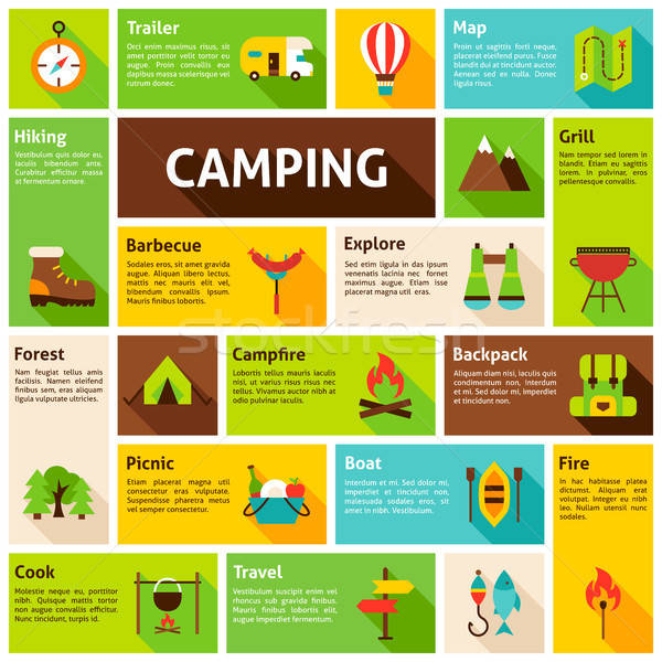 Camping infográficos projeto elementos móvel teia Foto stock © Anna_leni