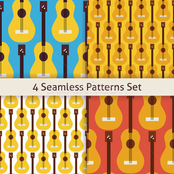 Four Vector Flat Seamless String Music Instrument Guitar Pattern Stock photo © Anna_leni