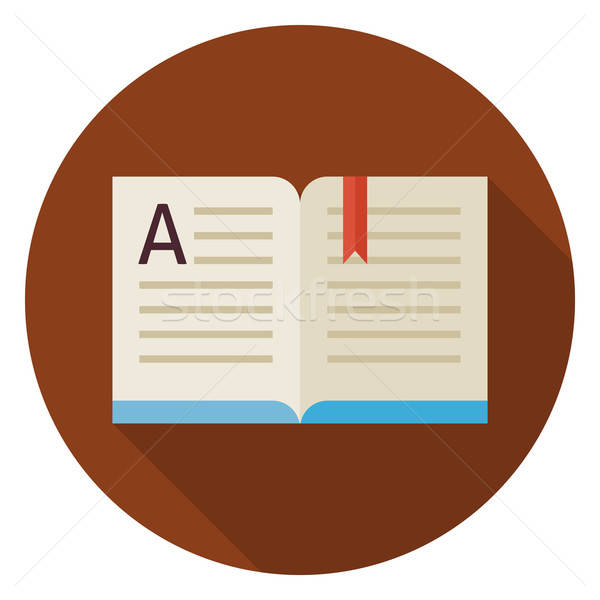 Flat Education Reading Open Book Circle Icon with Long Shadow Stock photo © Anna_leni