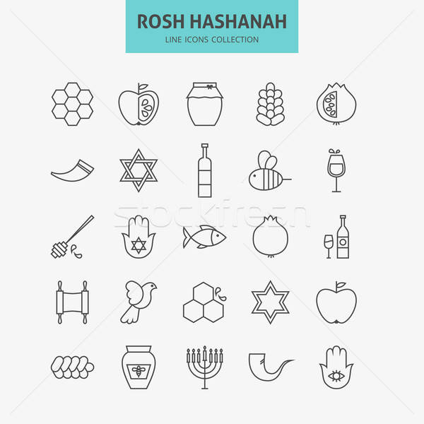Line Jewish New Year Holiday Icons Big Set Stock photo © Anna_leni