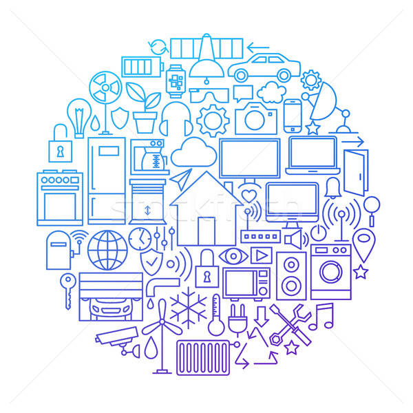 Smart House Line Icon Circle Design Stock photo © Anna_leni