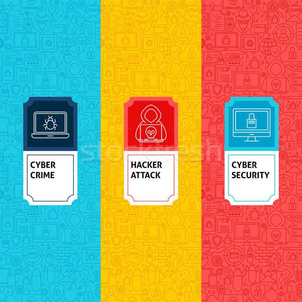 линия хакер пакет Этикетки дизайн логотипа шаблон Сток-фото © Anna_leni