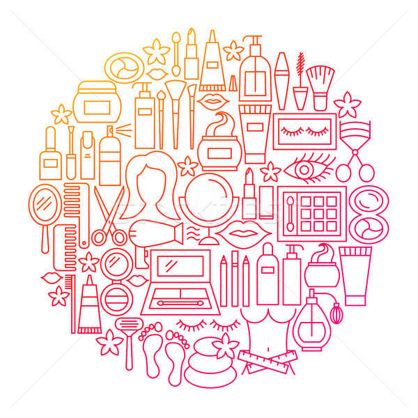 Cosmetics Line Icon Circle Design Stock photo © Anna_leni