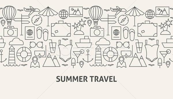 Nyár utazás szalag vonal web design égbolt Stock fotó © Anna_leni