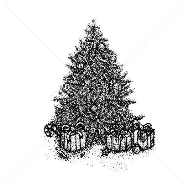 Dotwork Christmas Tree Stock photo © Anna_leni