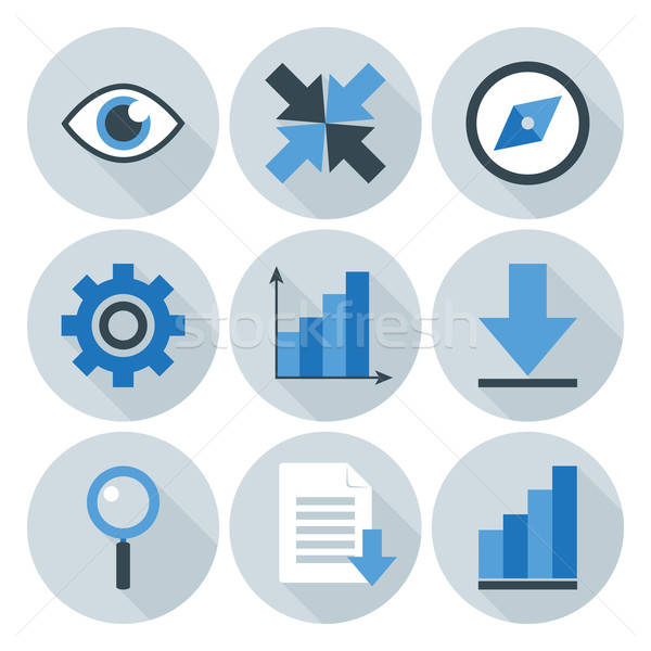 Blue and Grey Business Flat Circle Icons Stock photo © Anna_leni
