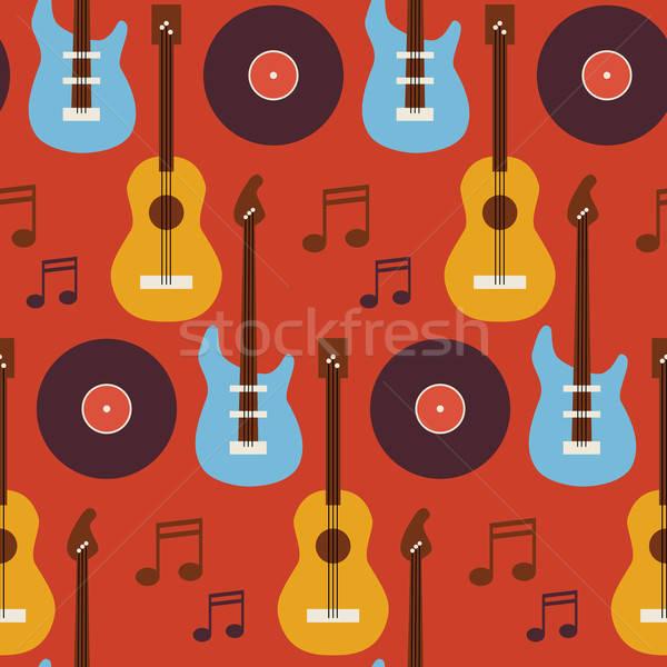 Muziek instrument gitaar vinyl patroon Stockfoto © Anna_leni