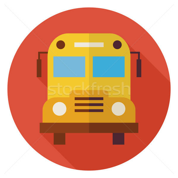 Flat School and Education Bus Circle Icon with Long Shadow Stock photo © Anna_leni