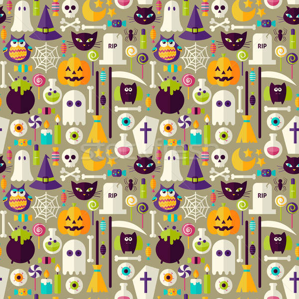 Flat Beige Halloween Trick or Treat Objects Seamless Pattern Stock photo © Anna_leni