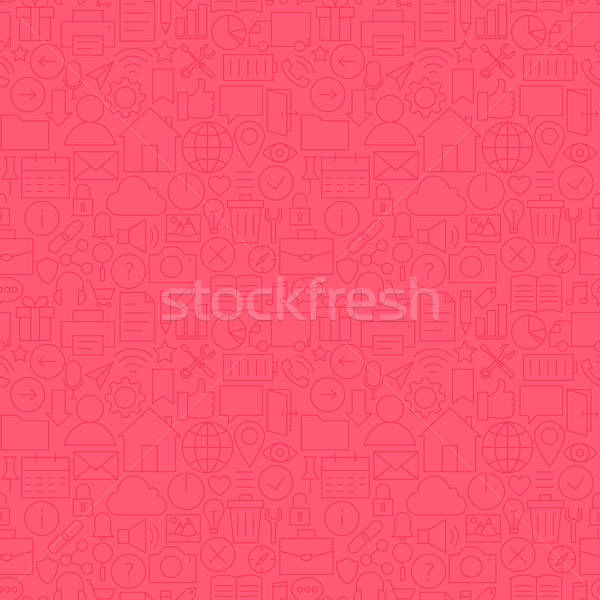 Stock photo: Thin Line Website Mobile User Interface Seamless Pink Pattern